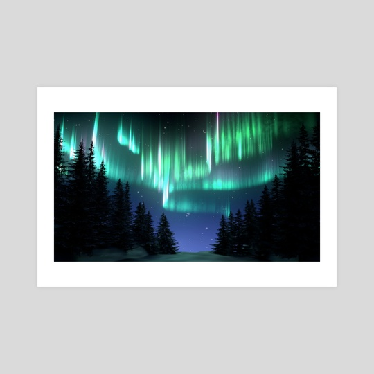 Aurora Borealis Forest by Sara Tarr