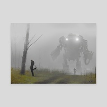 robot in the mist - Canvas by Jakub Różalski