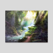 Forest Stream - Acrylic by Johannes Kert Roots