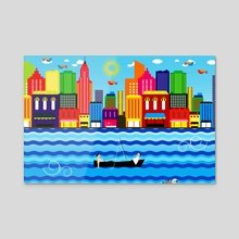 Sea and beach 2 - Acrylic by Michal Eyal