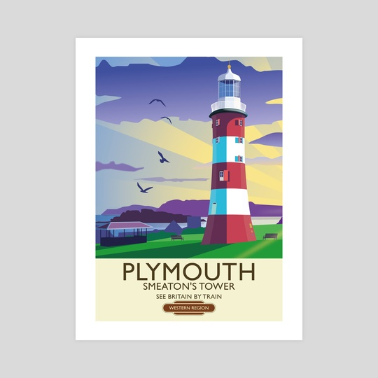 Plymouth Hoe Vintage Railway Poster by MIKE TURTON