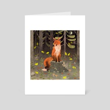 fox in the night forest - Art Card by Lara Paulussen