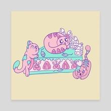 Strawberry Kitty cake - Canvas by Cuddle Bunnie