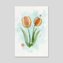 Tulips - Acrylic by Kim Z.