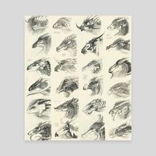 Dragonheads - Canvas by Melinda Vass