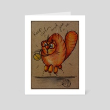 """Cat """"Compote"""" Keep calm and join us - Art Card by Viktoria Kucherenko"""