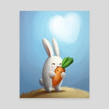 White bunny with carrot in love - Canvas by Olga Yatsenko
