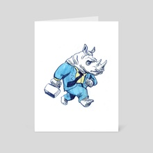 Rhino Businessman - Art Card by Cool Characters
