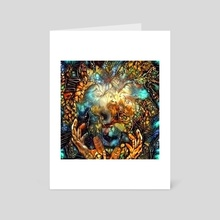 Looking Through Eternity. Face and hands, abstract painting - Art Card by Bruce Rolff