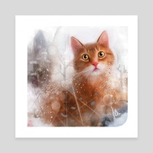 Cat Portrait 04 - Canvas by Anuradha Grover
