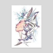Flock of Swallows - Canvas by Lindsay van Ekelenburg