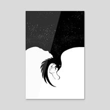 Space raven in the minds of men - Acrylic by Elizaveta Nazarova