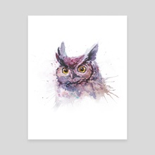 Watercolor owl portrait - Canvas by Dmitry Kaidash