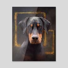 Doberman Determination - Acrylic by Chloe Carter