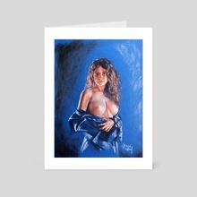 Female nude drawing pastel fine art - Art Card by Lucas Rafael Simone