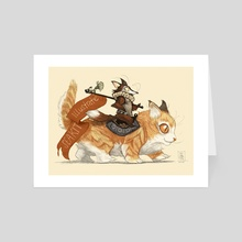 Dandy Foxes - Jingles and Bubba the Cat - Art Card by Kit Seaton