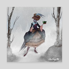 Thanksgiving Witch with Hat - Canvas by Jenna Gray