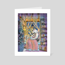 Reading With Papa - Art Card by Sophy Mariam