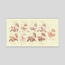 Santa's Reindeer - Canvas by Samantha Whitten