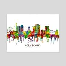 Glasgow Scotland Skyline - Canvas by Towseef Dar