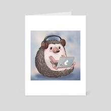 Hard Working Hedgehog Listening to Music on the Laptop - Art Card by Pamela Yeung Ribeiro