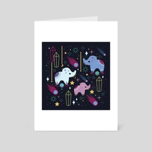 Elephants in Space  - Art Card by Carly Watts