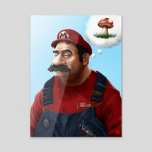 The Real Super Mario - Acrylic by Tom Velez