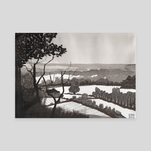 Wood B&W - Canvas by lcs illustration