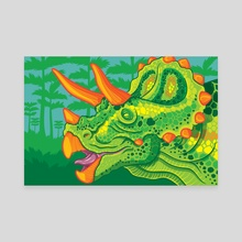 Triceratops (lime) - Canvas by Jennifer Smith