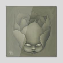 Peony Doll - Acrylic by Kytie a