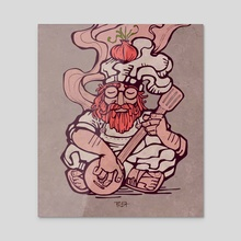 Hippie chef cartoon illustration - Acrylic by Bernardo Ramonfaur