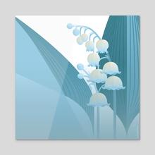 Lily of the valley - Convallaria majalis - Acrylic by Zsofia Szabo