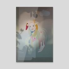 girl and swan 2 - Acrylic by Viktoriya  Panasenko