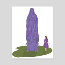 Our Lady's Garden Statue - purple - Canvas by a creative almanac