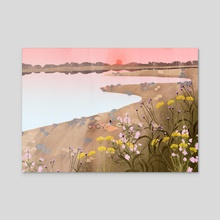 Rhine picnic - Acrylic by Lara Paulussen