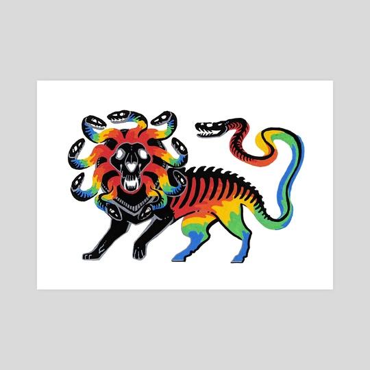 Rainbow Dragon Chimera Print by Diana Chan