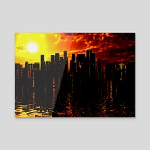 Futuristic City - Canvas by Bruce Rolff