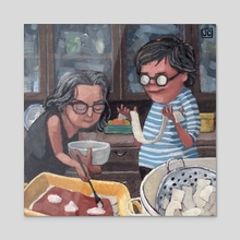 2 Broads Making Lasagna - Acrylic by Jodi Chamberlain