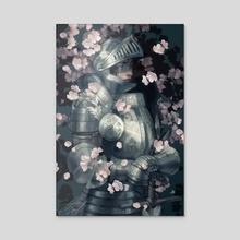 Knight in Spring - Acrylic by Mirjam Löfgren