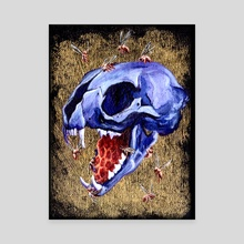 Metallic Purple Cat Skull - Canvas by Kat Powell