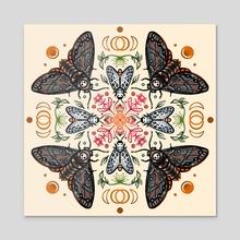 Spooky Moth Mandala- Color - Acrylic by Kassandra Ruiz-Wise