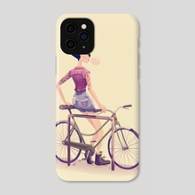 Hipster with a Bike - Phone Case by Kristian Duffy