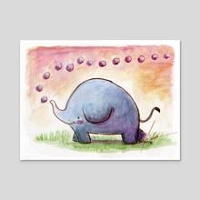 Elephant bubbles - Acrylic by Camila Espinosa