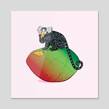 The Marmoset and The Mango - Acrylic by Oliver Lake
