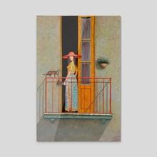 Girl on the balcony - Acrylic by David Martiashvili