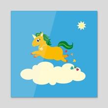The Golden Unicorn of Glitter Poo - Acrylic by Katrin Ewert