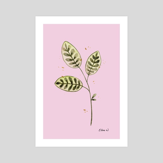 Green leaves on pink by Ellen Wilberg