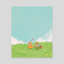chick and frog YM - Canvas by Luna