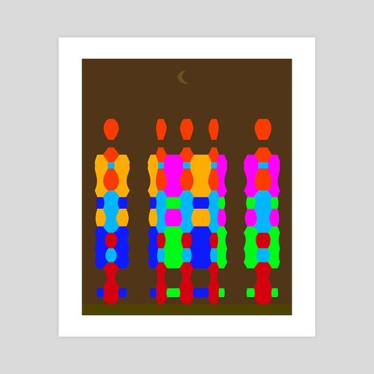 """""""Midnight Queue"""" (Geometric Flat) by Vidka Art"""