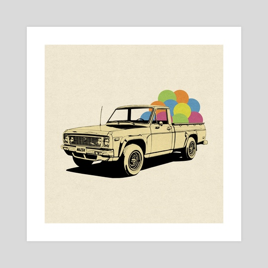 Pickup Truck by LennyCollageArt